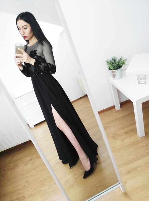 2cb57f7cee Czarna długa maxi suknia balowa studniówkowa n w Suknie i sukienki ...