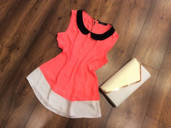 Koralowa neon MOHITO S M bluzka tunika