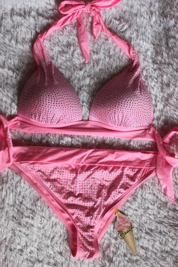 River Island bikini cyrkonie neon róż diamonds s m