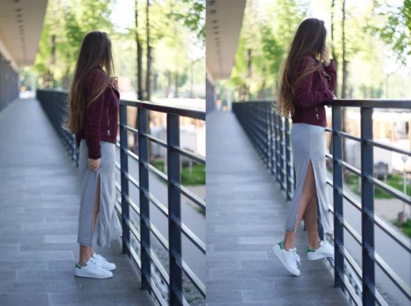 Blogerek adidasy i sukienka maxi