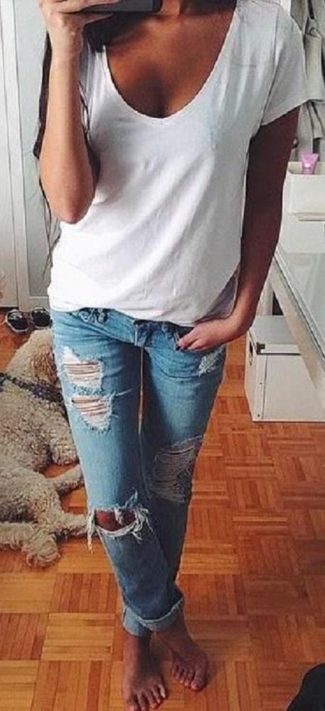 Codzienne biały tshirt