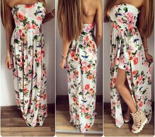 Sukienka maxi kwiatki rozcięcie S