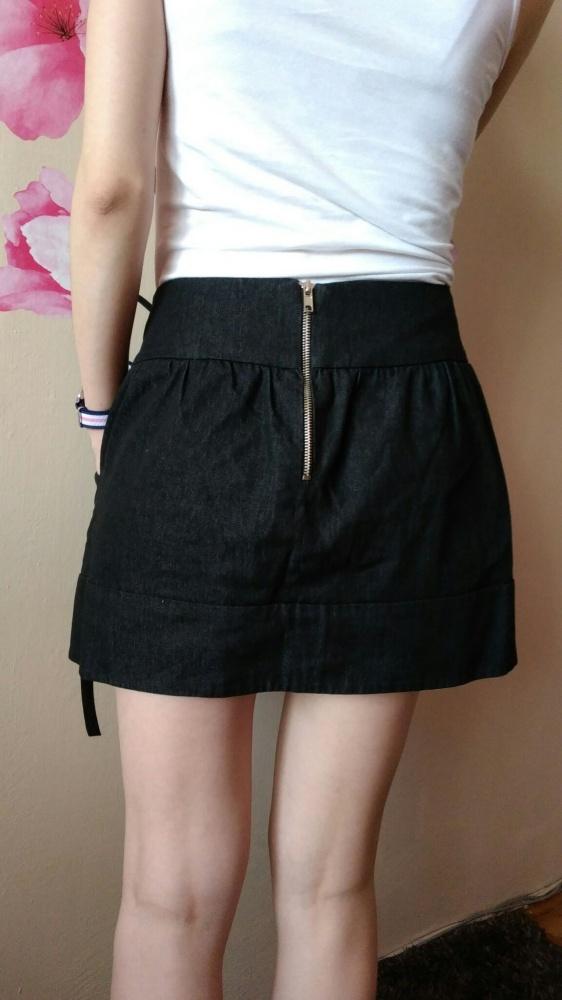 Spódnice Ciemno jeansowa spódnica zamek zip