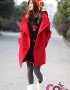 płaszcz czerwony wełna kaptur XS S M...