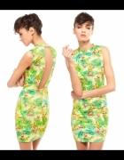 Sukienka tropikalna Bershka palmy