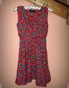 Letnia mini sukienka kwiatki floral pinup 34 36 38