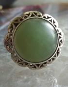 Stary srebrny pierścionek koronka warmet