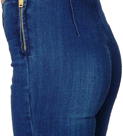 jeansowe dopasowane bez kieszeni wysoki stan XS S w Spodnie