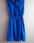 kobaltowa sukienka z koronka XS