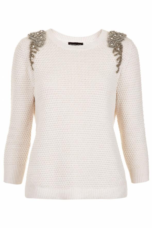 TOPSHOP sweter pagony koraliki kremowy kamienie...