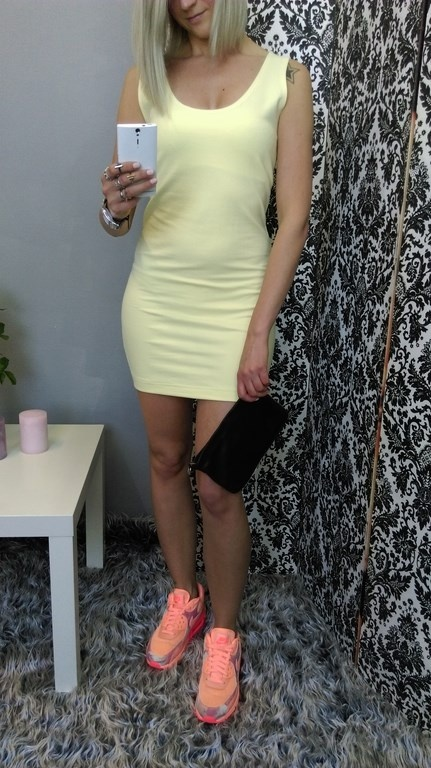 Codzienne sportowa dresowa sukienka bananowa air maxy neon