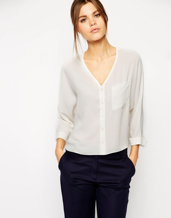 luźna koszula bluzka oversize dekolt V neck
