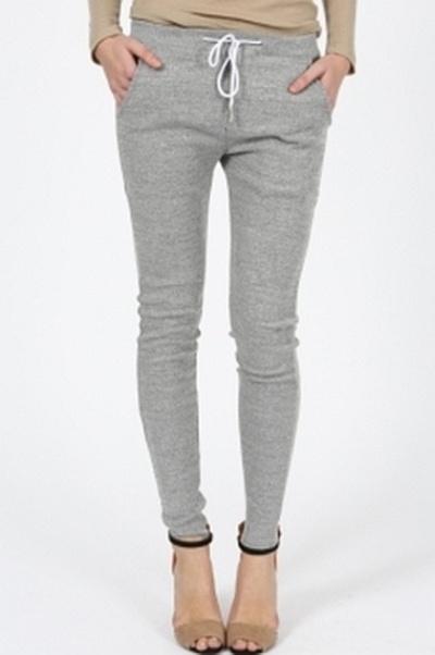 dresowe rurki szary melanż spodnie