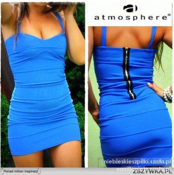 sukienka niebieska Atmosphere tuba zip bandażowa...