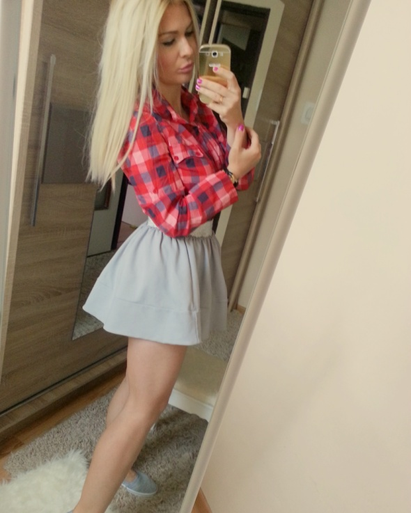 Mój styl koszula krata spódnica rozkloszowana