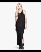 H&M długa czarna sukienka bokserka r 34 36