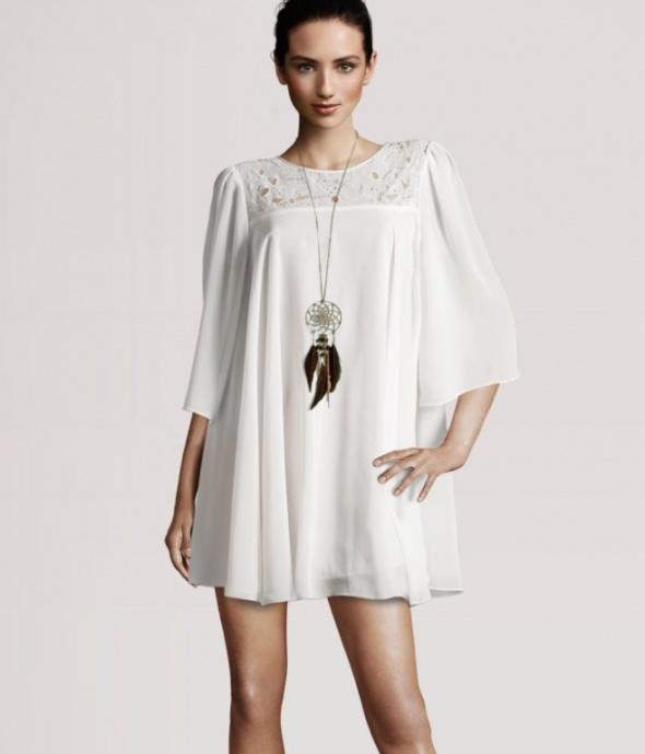 SUKIENKA H&M zwiewna ecru białą