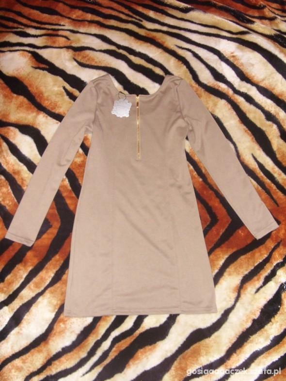 Suknie i sukienki NOWA beżowa sukieka ze złotym zipem