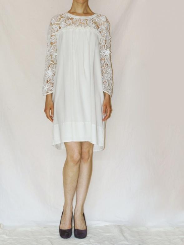 f9572dc4f Suknie i sukienki luźna letnia sukienka H&M Conscious koronka szyfon