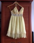 Zwiewna letnia sukienka S M cytrynka NAJTANIEJ