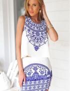 komplet ze spódnica niebiesko biały porcelanowy