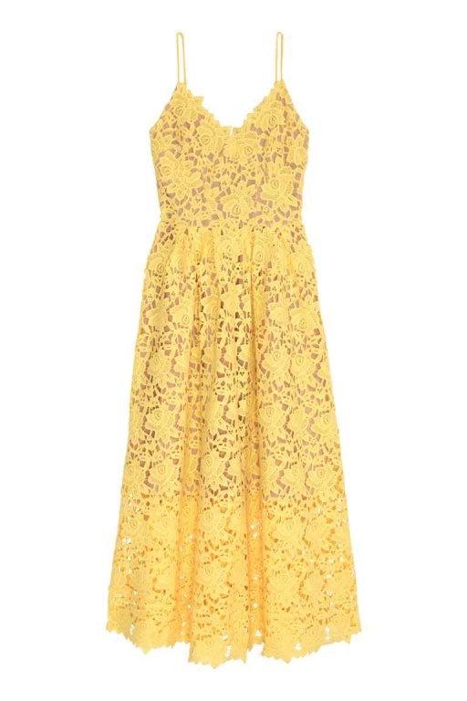 Sukienka H&M Conscious koronka żółta...