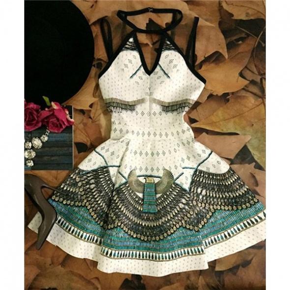 Imprezowe Stylish Round Neck Sleeveless Animal Print Dress