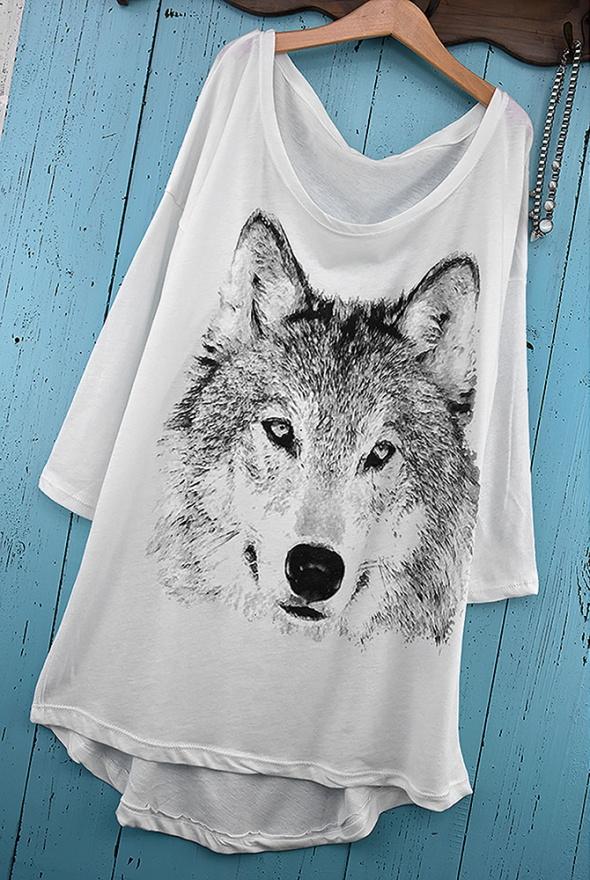 koszulka tshirt z wilkiem s m oversize