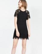 ZARA krótka sukienka koronkowa...