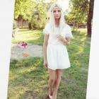 sukienka biała boho różyczki