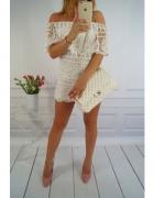 sukienka biała koronkowa ażur hiszpanka