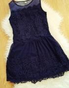 Sukienka Granat Koronka M Jak Nowa