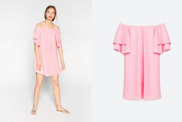 nowa różowa sukienka falbana hiszpanka zara m 38 w Suknie i