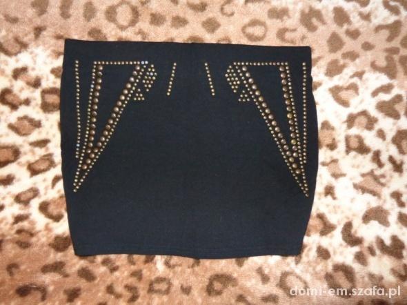 Spódnice Czarna mini złote napy