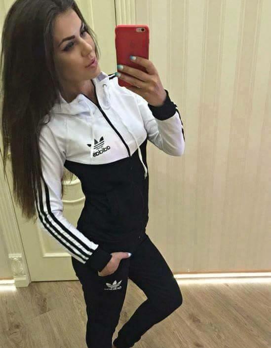 dres adidas damski bialo czarno granatowy