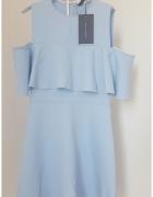 Błękitna sukienka Zara falbanka poszukiwana