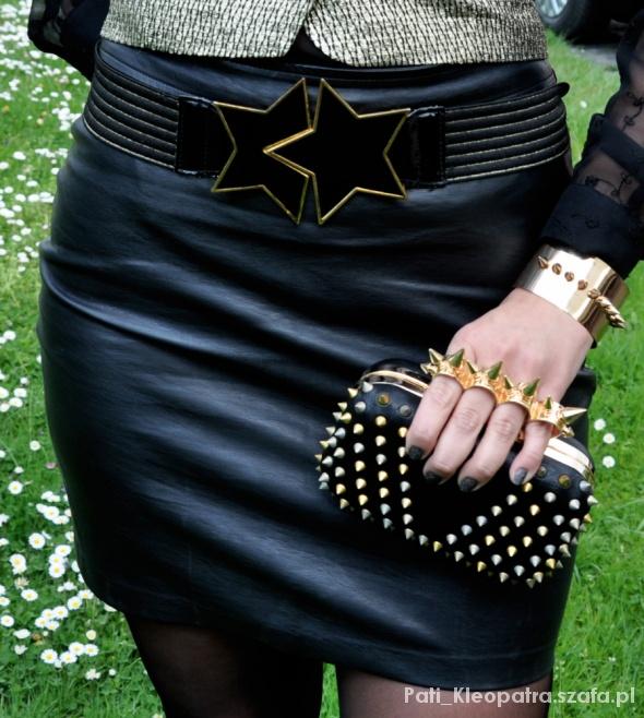 Spódnice czarna spodnica ze skóy