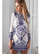 sukienka boho bohemian wzór adamaszkowy kobalt