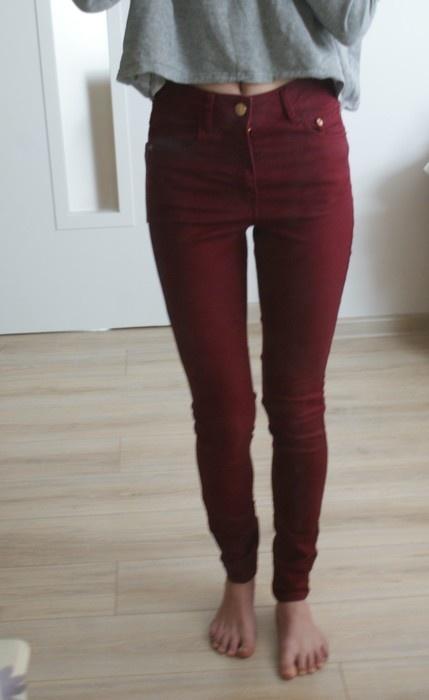 79df959f6eff Bordowe spodnie z wysokim stanem bikbok rozmiar s w Spodnie - Szafa.pl