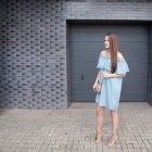 Denim Dress & Lace Up Heels