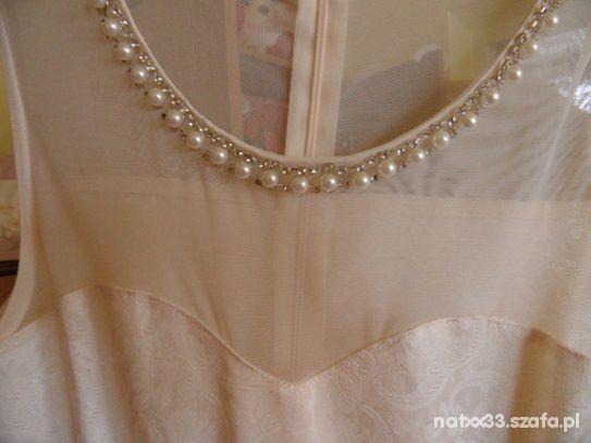 Sukienka nude krem siatka cyrkonie perełki