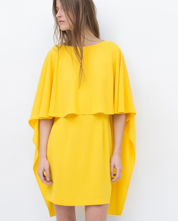 Żółta sukienka ZARA Peleryna...