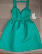 zielona zakardowa sukienka ZARA plecy 36
