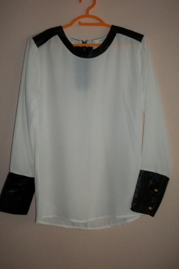 biała koszula skórzane wstawki