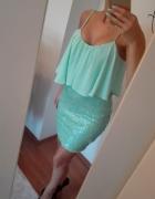 Sukiena dół cekiny xs s kolor ciemny...