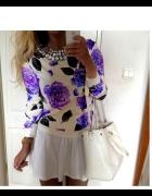 Bluza floral neon róże S M