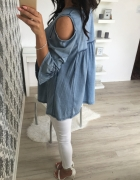 piękna bluzka ala jeans hafty Odkryte ramiona