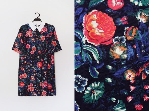 sukienka w kwiaty z kołnierzykiem
