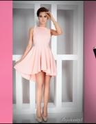 Asymetryczna BRZOSKWINIOWA sukienka S 36