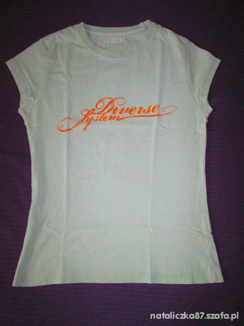 T-shirt Diverse T shirt kremowy 38 tanio
